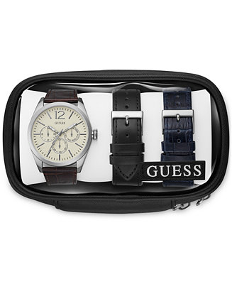 GUESS Men's Brown Leather Strap Watch &
