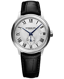 Men's Swiss Automatic Maestro Black Leather Strap Watch 40mm 2238-STC-00659
