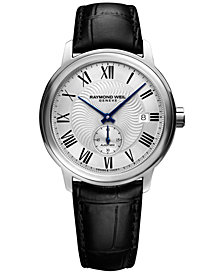 RAYMOND WEIL Men's Swiss Automatic Maestro Black Leather Strap Watch 40mm 2238-STC-00659