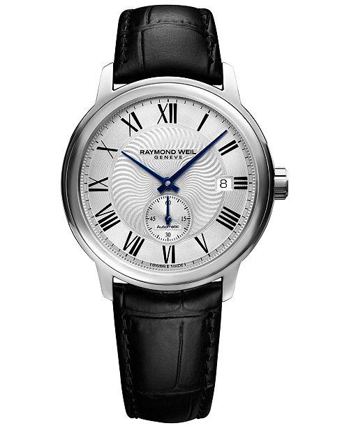 Raymond Weil Men's Swiss Automatic Maestro Black Leather Strap Watch 40mm 2238-STC-00659