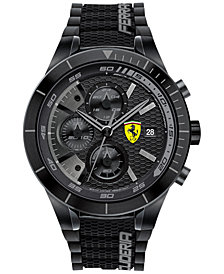 Scuderia Ferrari Men's Chronograph RedRev Evo Black Silicone Strap Watch 46mm 0830262