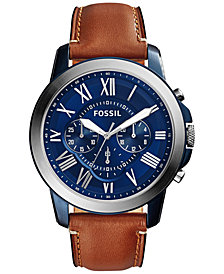 Fossil Men's Chronograph Grant Light Brown Leather Strap Watch 44mm fs5151