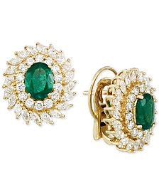 RARE Featuring GEMFIELDS Emerald (1-9/10 ct. t.w.) and Diamond (2-1/3 ct. t.w.) Stud Earrings in 14k Gold