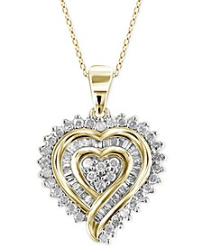 Diamond Heart Pendant Necklace (1/2 ct. t.w.) in 18k Gold over Sterling Silver