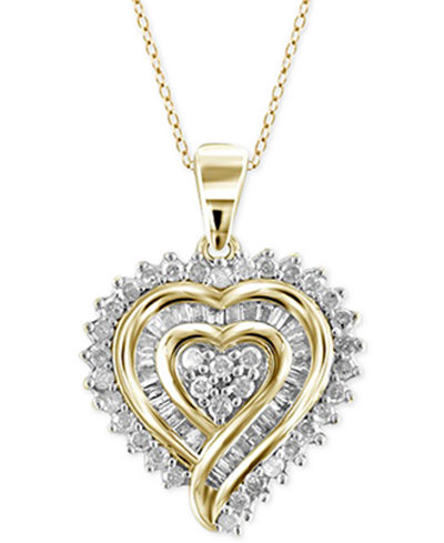 Diamond Heart Pendant Necklace 1 2 Ct T W In 18k Gold