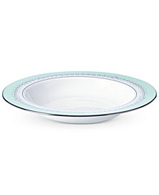 Marchesa by Lenox Empire Pearl Turquoise  Bone China Rim Soup Bowl