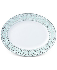 Brian Gluckstein by Lenox Clara Aqua Bone China Oval Platter