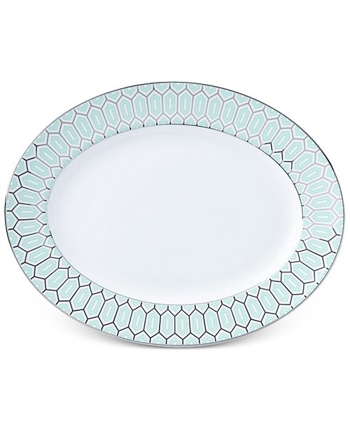 Lenox Brian Gluckstein by Clara Aqua Bone China Oval Platter