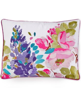 "Wisteria Embroidered Linen 12"" x 16"" Decorative Pillow"