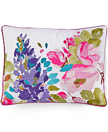 "bluebellgray Wisteria Embroidered Linen 12"" x 16"" Decorative Pillow"