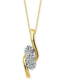 Diamond 3-Stone Pendant Necklace (3/4 ct. t.w) in 14k Gold