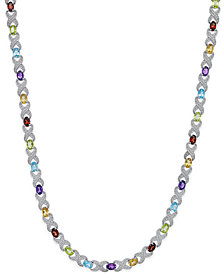 Multi-Gemstone (18 ct. t.w.) and Diamond Accent Necklace in Sterling Silver
