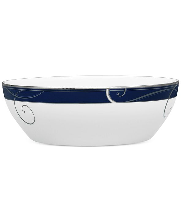 Noritake Platinum Wave Indigo Porcelain Vegetable/Salad Bowl