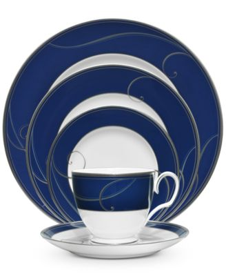 ... fine china collection of dinnerware and dishes from Noritake designed with a deep navy rim. The fresh and elegant Platinum Wave place settings are ...  sc 1 st  Macy\u0027s & Noritake Dinnerware Platinum Wave Indigo Collection - Fine China ...