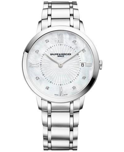 Baume & Mercier Women's Swiss Classima Diamond Accent Stainless Steel Bracelet Watch 37mm M0A10225