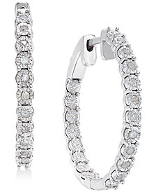 Diamond Hoop Earrings (1/4 ct. t.w.) in Sterling Silver