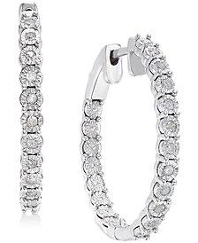 Diamond Hoop Earrings (1/4 ct. t.w.) in Sterling Silver