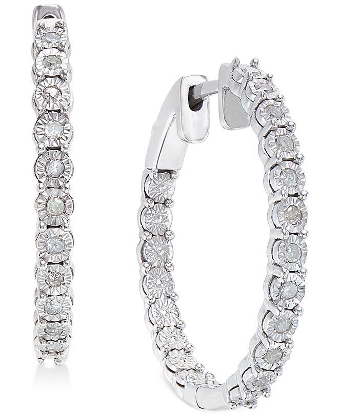 Macy's Diamond Hoop Earrings (1/4 ct. t.w.) in Sterling Silver