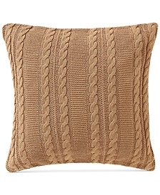 "Dublin Cable-Knit 18"" Square Decorative Pillow"