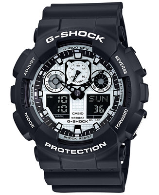 G-Shock Men's Analog-Digital Black and White Black
