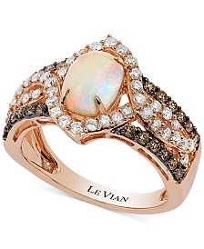 Le Vian Chocolatier® Opal (7/8 ct. t.w.) and Diamond (9/10 ct. t.w.) Ring in 14k Rose Gold
