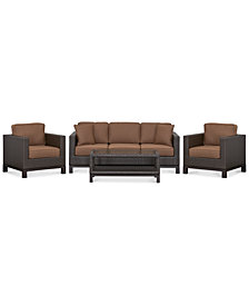 CLOSEOUT! Katalina Outdoor Wicker 4-Pc. Seating Set (1 Sofa, 2 Club Chairs and 1 Coffee Table), with Sunbrella® Cushions, Created for Macy's