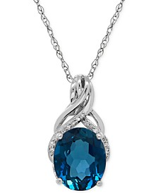 London Blue Topaz (4-3/4 ct. t.w.) and Diamond Accent Twist Pendant Necklace in Sterling Silver