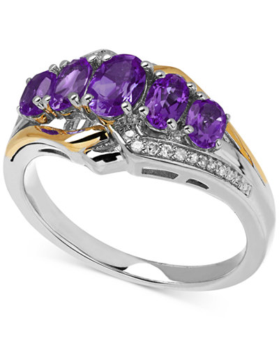 Amethyst (1-1/4 ct. t.w.) and Diamond Accent Ring in 14k Gold and Sterling Silver