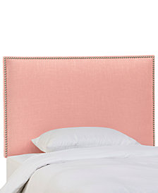Chante Full Linen Button Border Headboard, Quick Ship