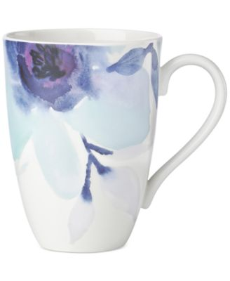 Indigo Watercolor Floral Porcelain Mug, Created for Macy's