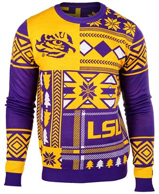 Forever Collectibles Mens Lsu Tigers Patches Christmas Sweater