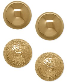 Ball Stud Earring Set in 10k Gold
