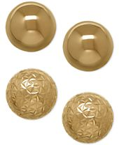 Ball Stud Earring Set in 10k Gold