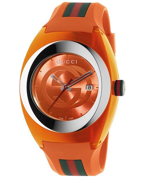 41a9af5fdb3523 Gucci Unisex Swiss Sync Orange Striped Rubber Strap Watch 46mm YA137108 ...