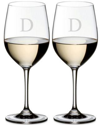 Vinum Monogram Collection 2-Pc. Block Letter Chardonnay/Chablis Wine Glasses