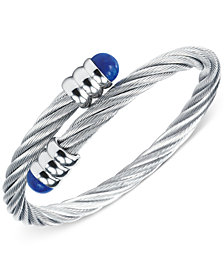 CHARRIOL Womens Silver-Tone Lapis Lazuli Cable Bangle Bracelet