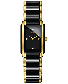 Rado Women's Swiss Integral Diamond Accent Black Ceramic & Gold-Tone Stainless Steel Bracelet Watch 23x33mm R20845712