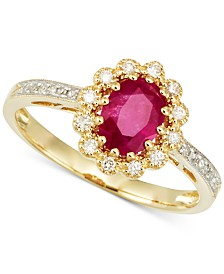RARE Featuring GEMFIELDS Certified Ruby (2/3 ct. t.w.) and Diamond (1/10 ct. t.w.) Ring in 14k Gold