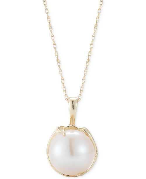 Macy's White Cultured Freshwater Pearl Pendant Necklace (10mm) in 14k Gold