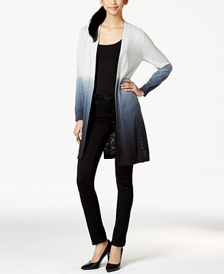 NY Collection Ombré Print Duster Cardigan - Sweaters - Women - Macy's