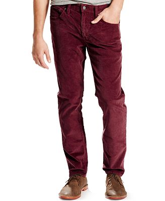 Levi's® 511 Slim-Fit Merlot Corduroy Pants - Pants - Men - Macy's