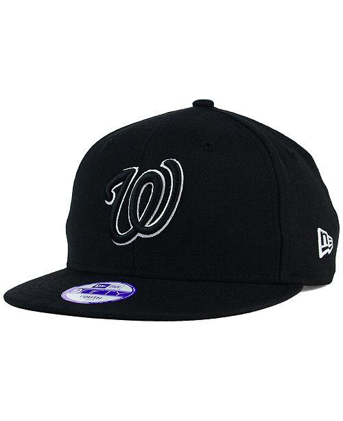 New Era Kids' Washington Nationals Black White 9FIFTY Snapback Cap