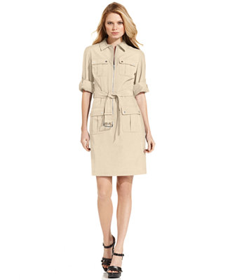 MICHAEL Michael Kors Rolled Sleeve Zip-Front Dress ...