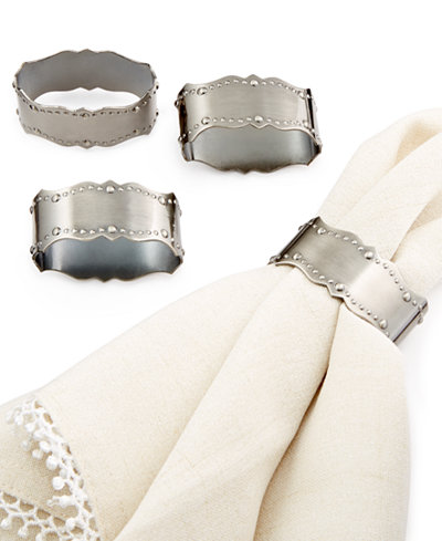 Lenox 4 Pc French Scroll Napkin Rings Table Linens