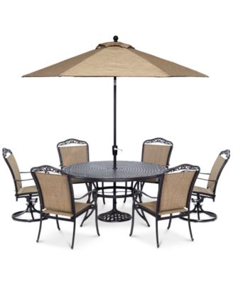 """Beachmont II Outdoor 7 Piece Set (60"""" Round Table, 4 Dining Chairs and 2 Swivel Rockers), Created for Macy's"""