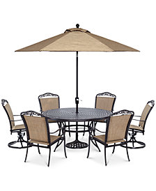 "Beachmont II Outdoor 7 Piece Set (60"" Round Table, 4 Dining Chairs and 2 Swivel Rockers), Created for Macy's"