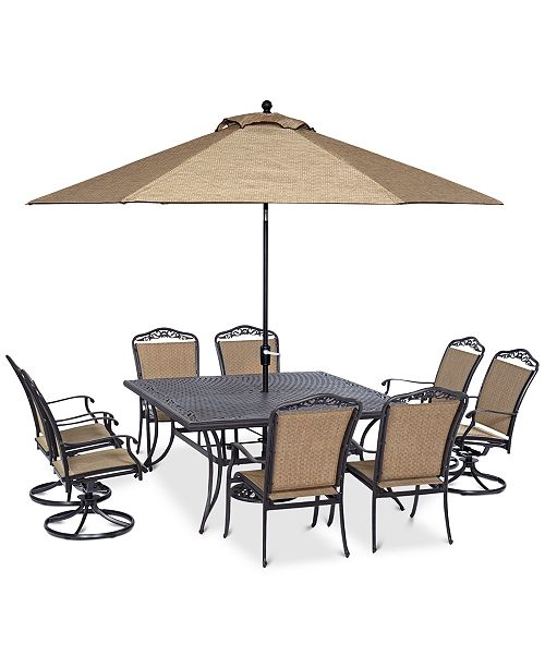 The beautiful Beachmont II outdoor dining collection features chairs with  gentle curves accented by elegant scrollwork and upholstered in a durable  ... - Furniture Beachmont II Outdoor Dining Collection, Created For Macy's