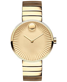 Movado Women's Swiss Edge Gold-Tone PVD Stainless Steel Bracelet Watch 34mm 3680014