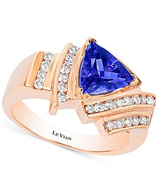 Tanzanite (1-1/3 ct. t.w.) and Diamond (1/2 ct. t.w.) Ring in 14k Rose Gold, Created for Macy's