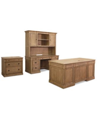 Sherborne Home Office Furniture, 4 Pc. Set (Executive Desk, Credenza Desk,  Hutch U0026 File Cabinet)